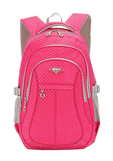 14596854f4a67b Amazon.com | JiaYou Kid Child Girl Multipurpose Dot Backpack School Bag(Rose,  Large) | Kids' Backpacks