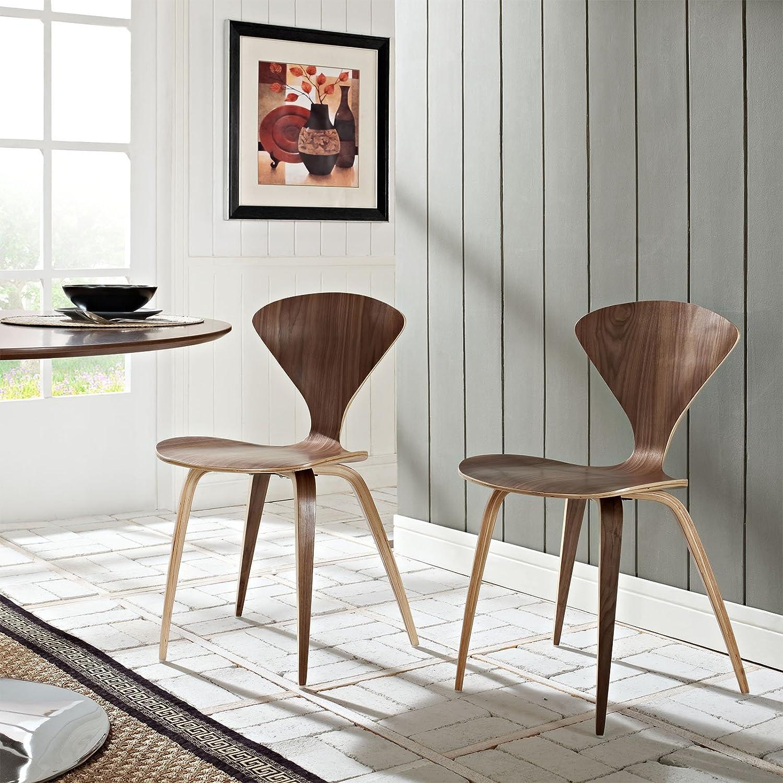 Modway Vortex Mid-Century Modern Kitchen and Dining Room Chair in Dark Walnut