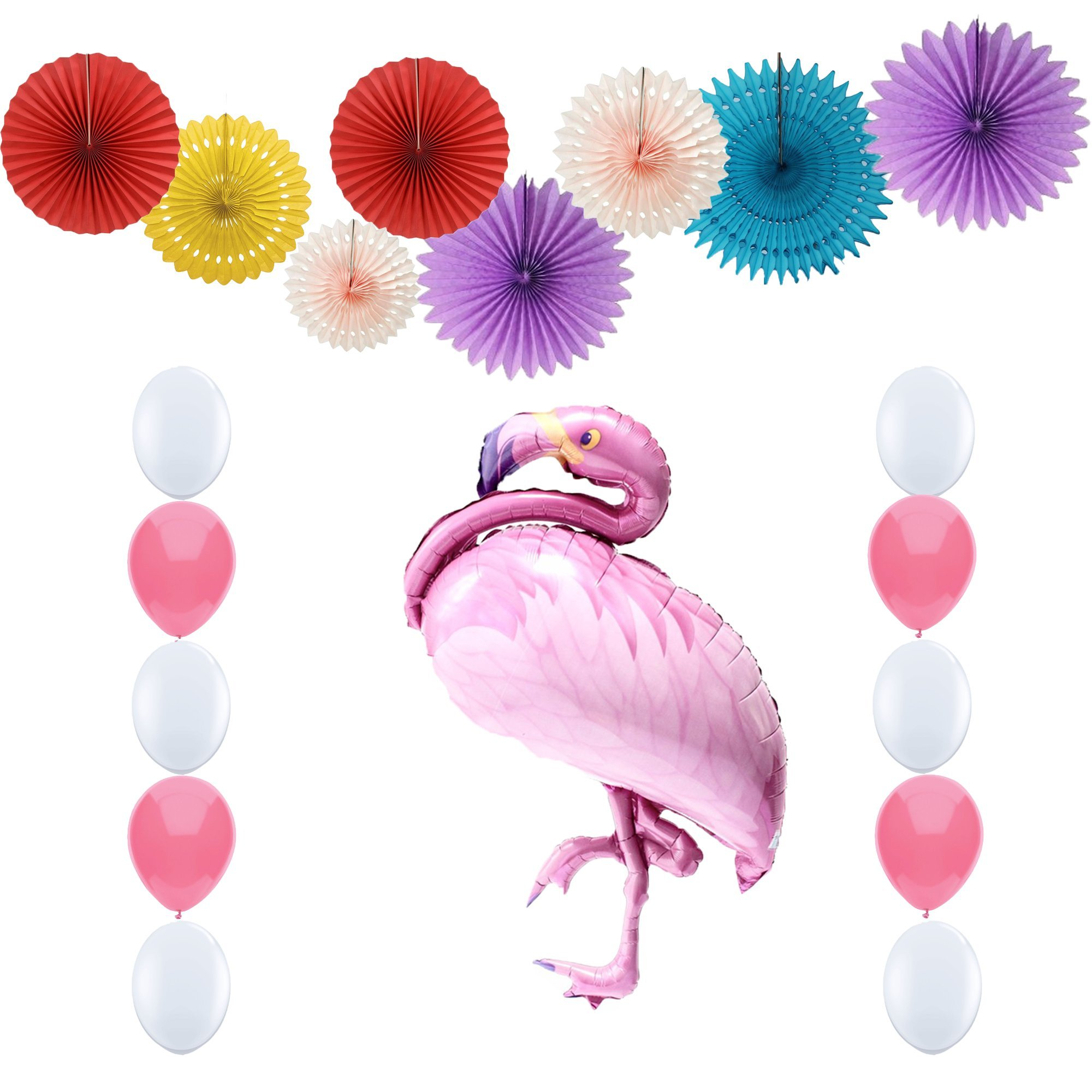 17pcs Giant Flamingo Decoration Handmade Colorful Paper Fan set for Party Flamingo Decor Bridal Baby Shower kids girlfriend