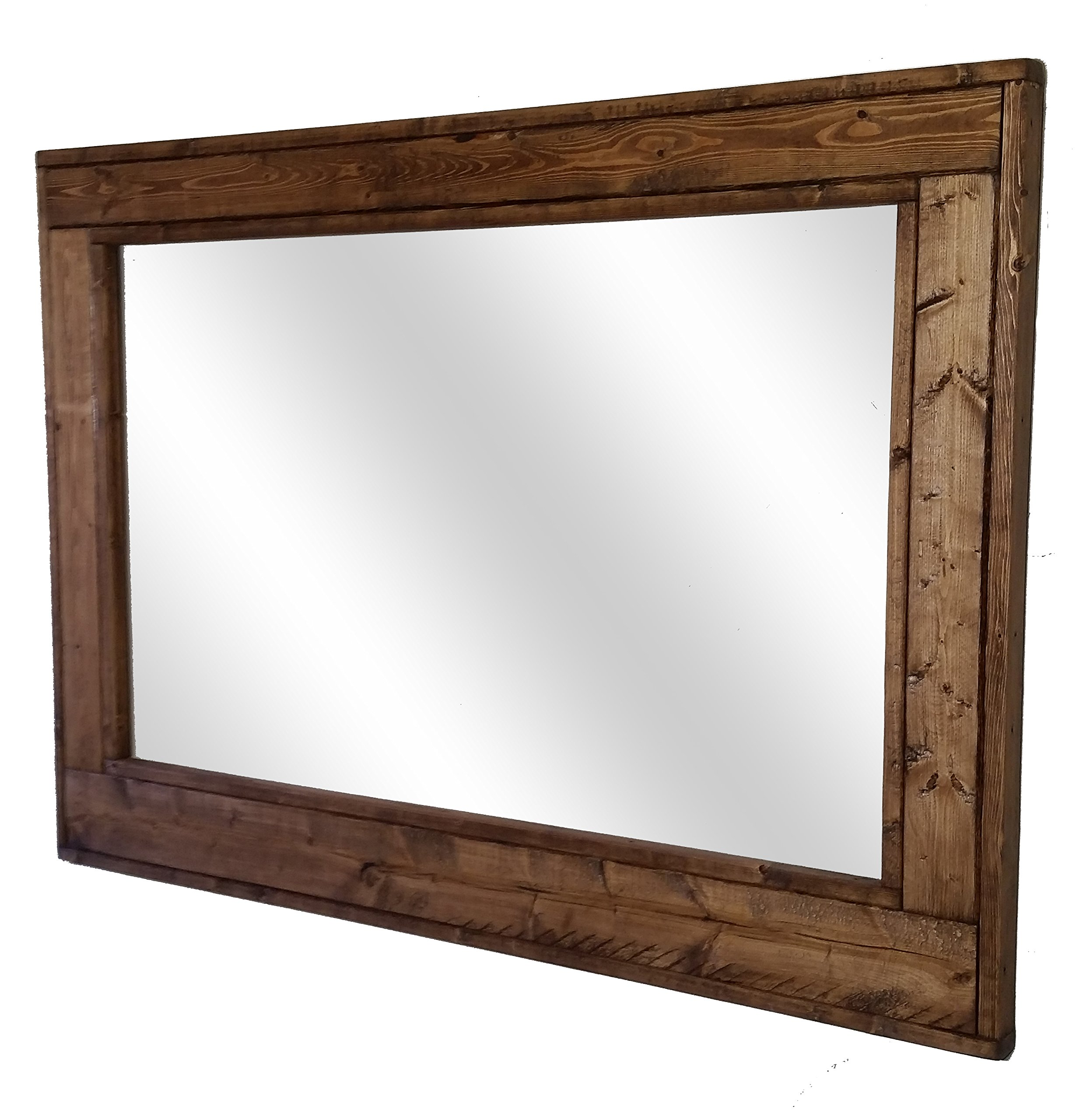 Herringbone 42 x 30 Horizontal Framed Mirror Stained in Special Walnut - Reclaimed Wood Mirror - Large Wall Mirror - Rustic Modern Home - Home Decor - Mirror - Housewares by Renewed Decor