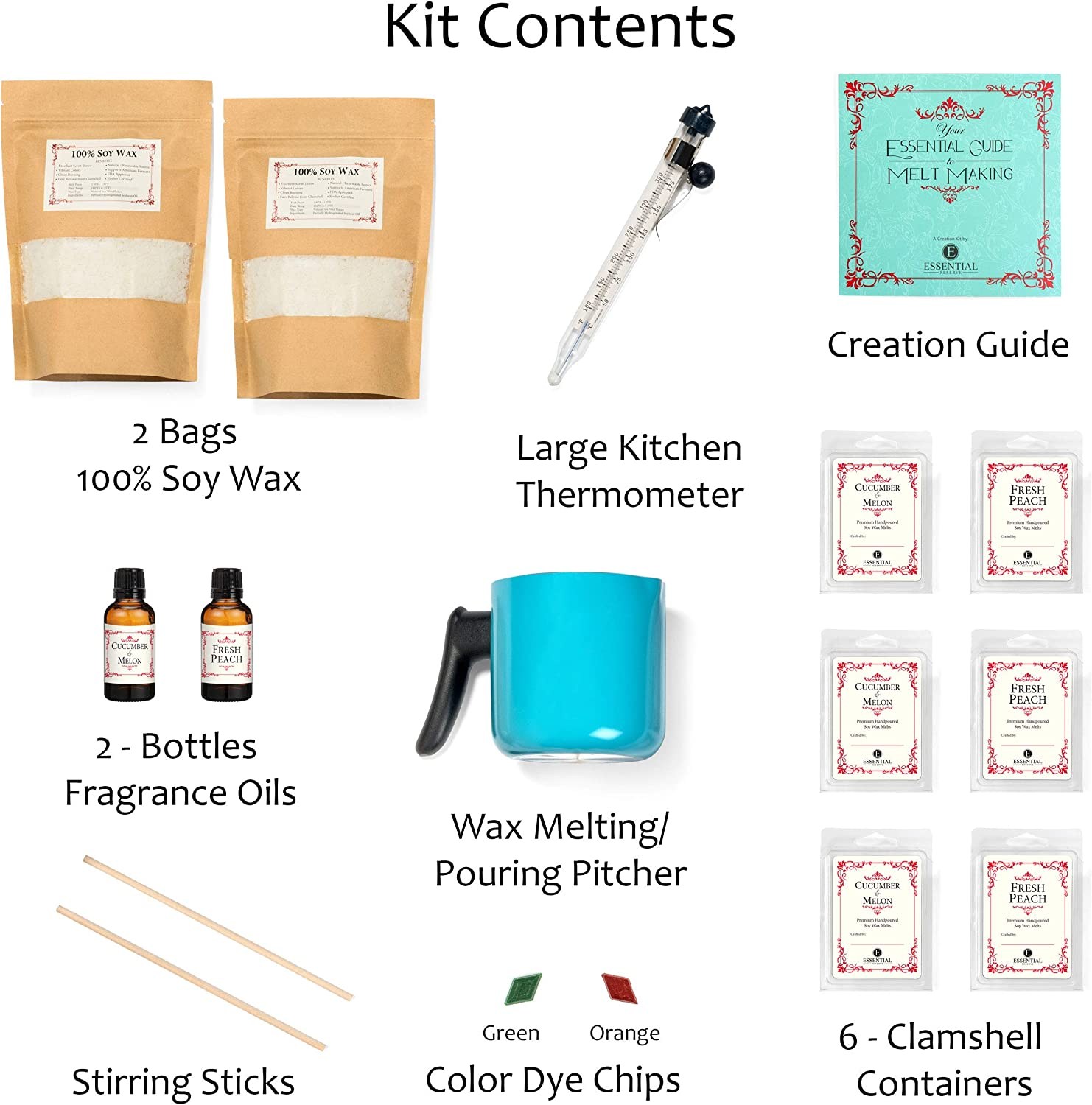 Clean Cotton//Lavender DIY Set Creates 6 Delightfully Scented Melts by Essential Reserve Premium Soy Melt Making Kit