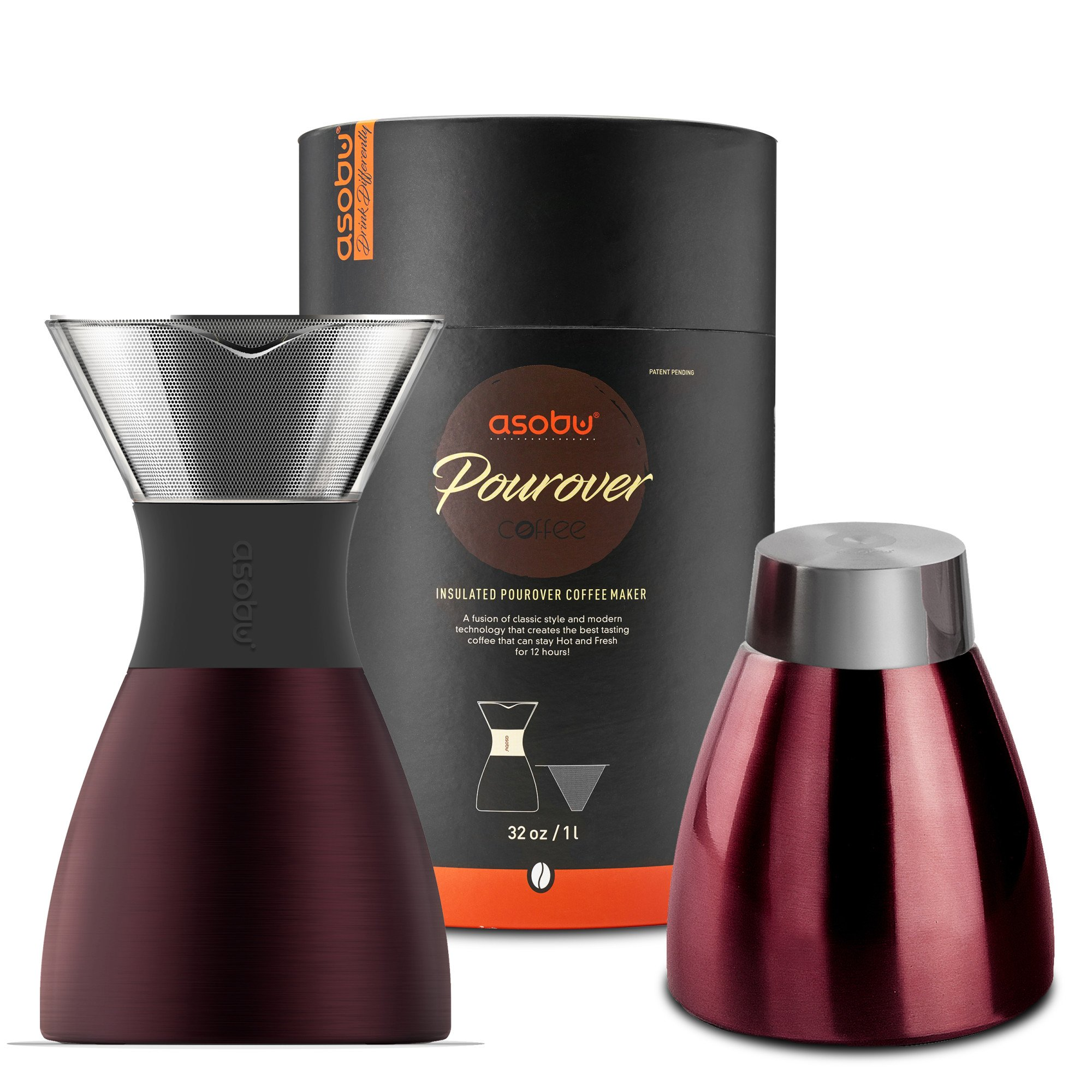 Asobu Red Insulated Pour Over Coffee Maker (32 oz.) Double-Wall Vacuum, Stainless-Steel Filter, Stays Hot Up to 12 Hours