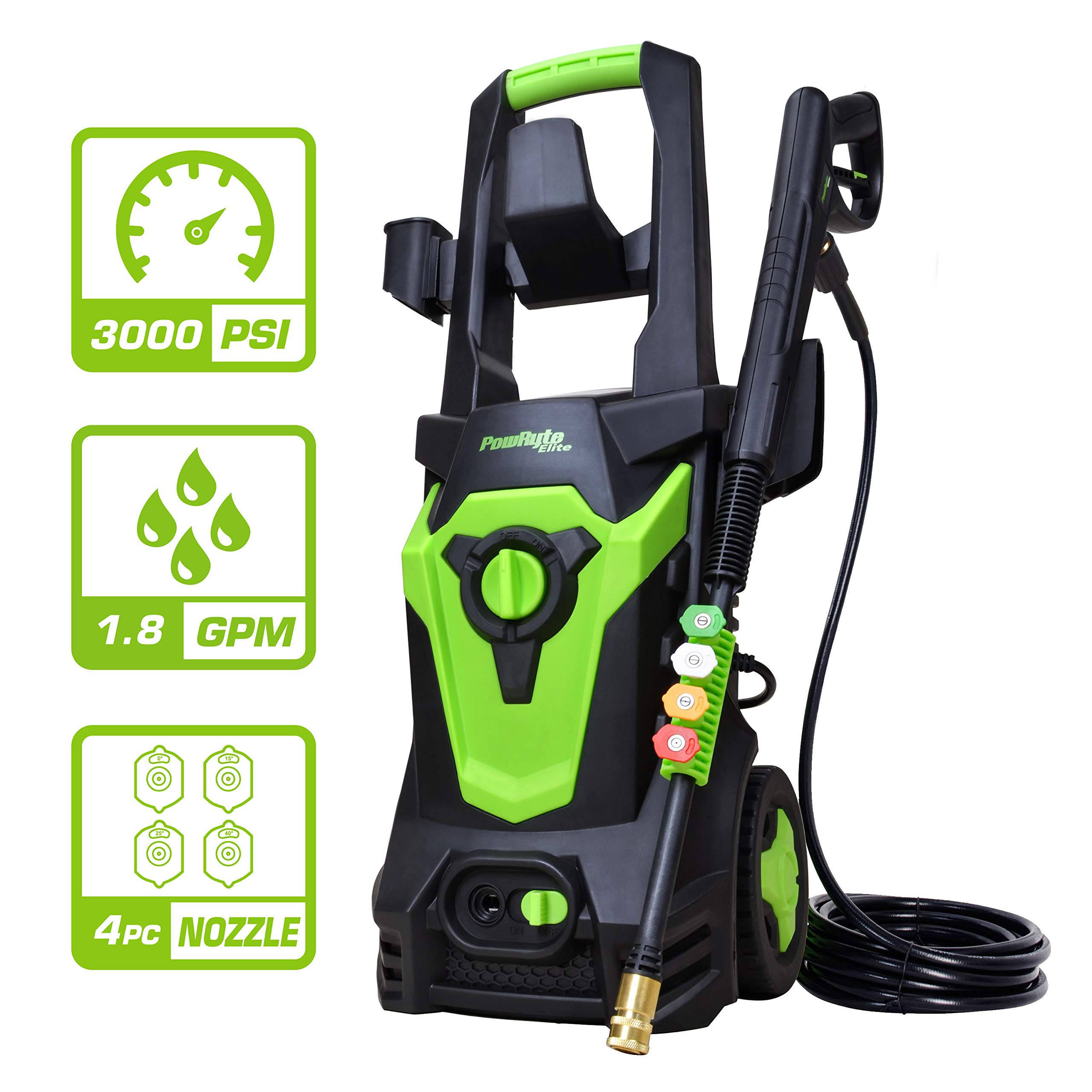 Azoran Electric Pressure Washer, Electric Power Washer with 4 Quick-Connect Spray Tips, Car Washer Machine - 3000 PSI 1.8 GPM