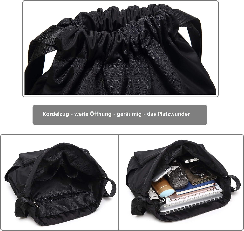 CALIYO Turnbeutel mit Zugverschluss Sportbeutel Beutel Rucksack mit Rei/ßverschlusstaschen Innen Sportrucksack Gymsack Daypack mit Vordertasche und vielen F/ächer