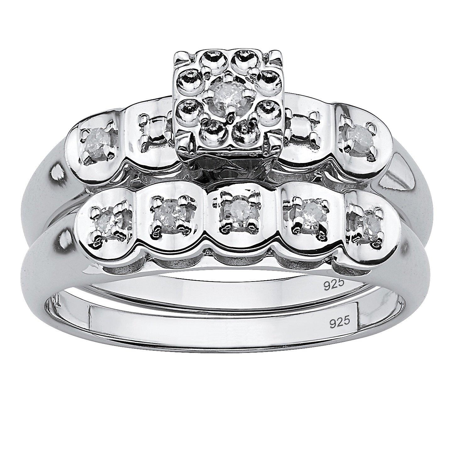 White Diamond Platinum over .925 Sterling Silver 2-Piece Bridal Set (.13 cttw, IJ Color, I3 Clarity) Size 8