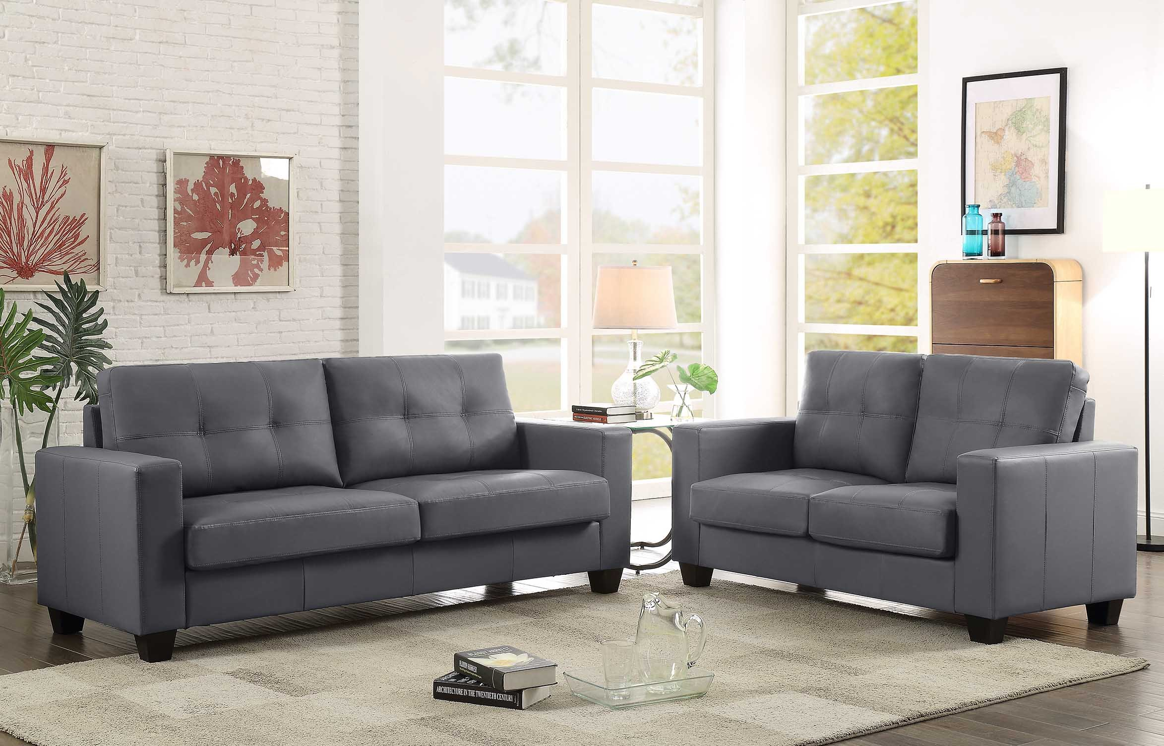 GTU Furniture 2Pc Contemporary Modern Pu-Leather Sofa and Loveseat Living Room Set (GREY) by GTU Furniture