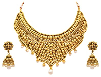 Buy JFL Royal Traditional One Gram Gold Plated Pearls Designer