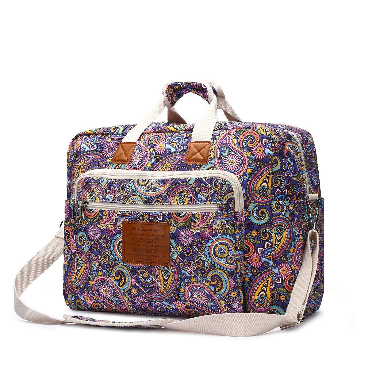 Malirona Women's Canvas Overnight Weekender Bag Carry On Travel Duffel Tote Bag Bohemian Flower (Purple Flower) by Malirona (Image #2)