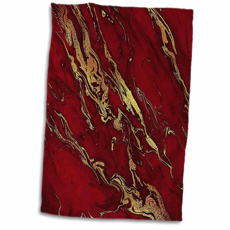 Luxury Red Gold Gem Stone Marble Glitter Metallic Faux Print 3dRose Uta Naumann Faux Glitter Pattern TWL/_268833/_1 15x22 Hand Towel