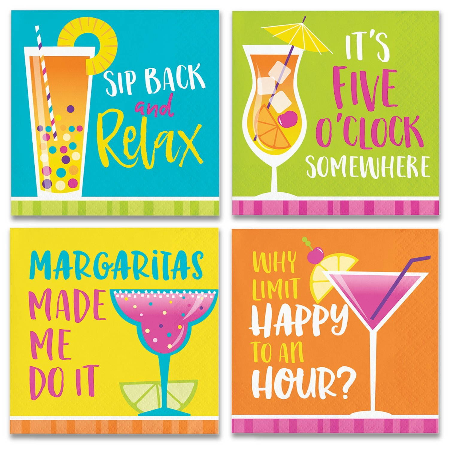 Summertime Cocktail Napkins Variety Pack - 64ct by FAKKOS Design (Image #1)