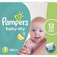 Pampers Diapers Size 1, Baby Dry Disposable Baby Diapers, 240 Count, Economy Pack Plus