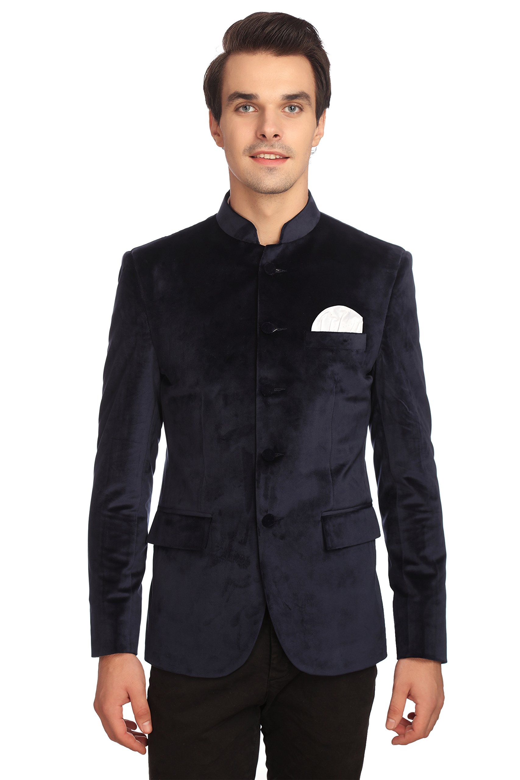 WINTAGE Men's Velvet Grandad Nehru Blazer Coat Jacket:Navy, X-Large