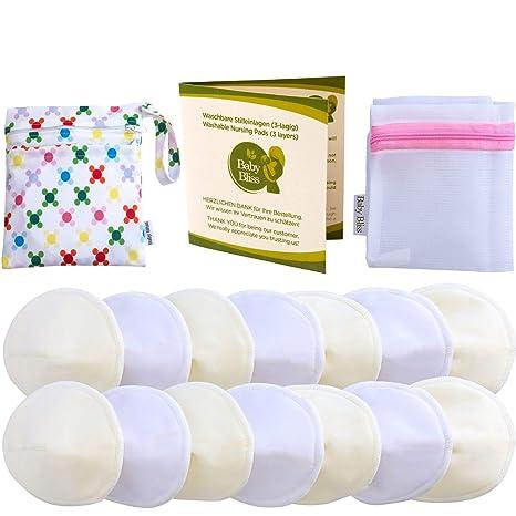 Baby Bliss Discos de Lactancia Lavables de Bambú | Pezoneras Absorbentes Hipoalergénicas y Reutilizables Protectoras de Pecho [Set de 14 con Bolsa de ...