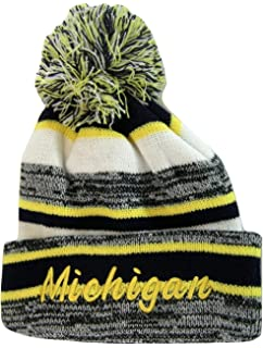 d9c39876d3909 Michigan 4-Color Embroidered Adult Size Thick Winter Knit Pom Beanie Hat
