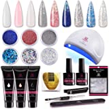 Makartt P-09 Nail Extension Gel Nail Starter Kit with 6pcs Beautiful Glitter Powders, 3pcs Builder Gel, 24w Quick Nail…