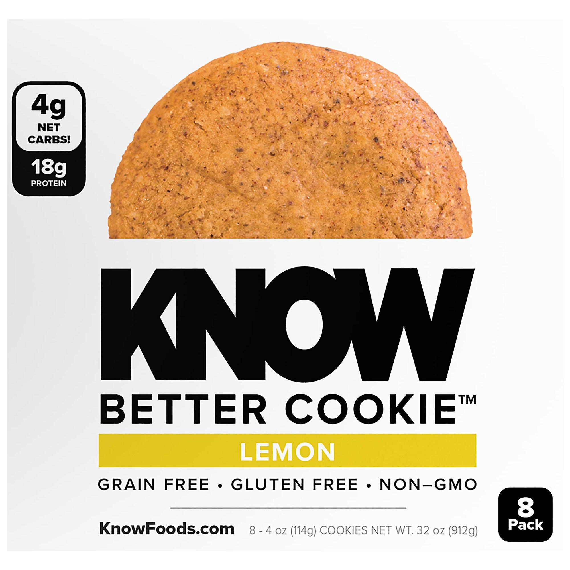 KNOW Better Cookies - Lemon 4 oz Cookies (Pack of 8)