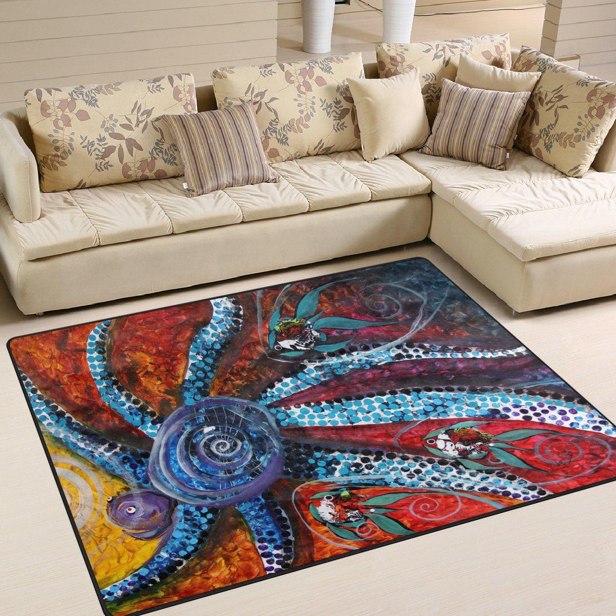 deyyaカスタムOcean Octopusノンスリップエリアラグパッドカバー63 x 48インチ、海洋OctopusパターンのためのスローラグカーペットモダンカーペットホームダイニングルームPlayroomリビングルーム装飾 80 x 58 inch dtfh-002 80 x 58 inch  B075X9KRTP