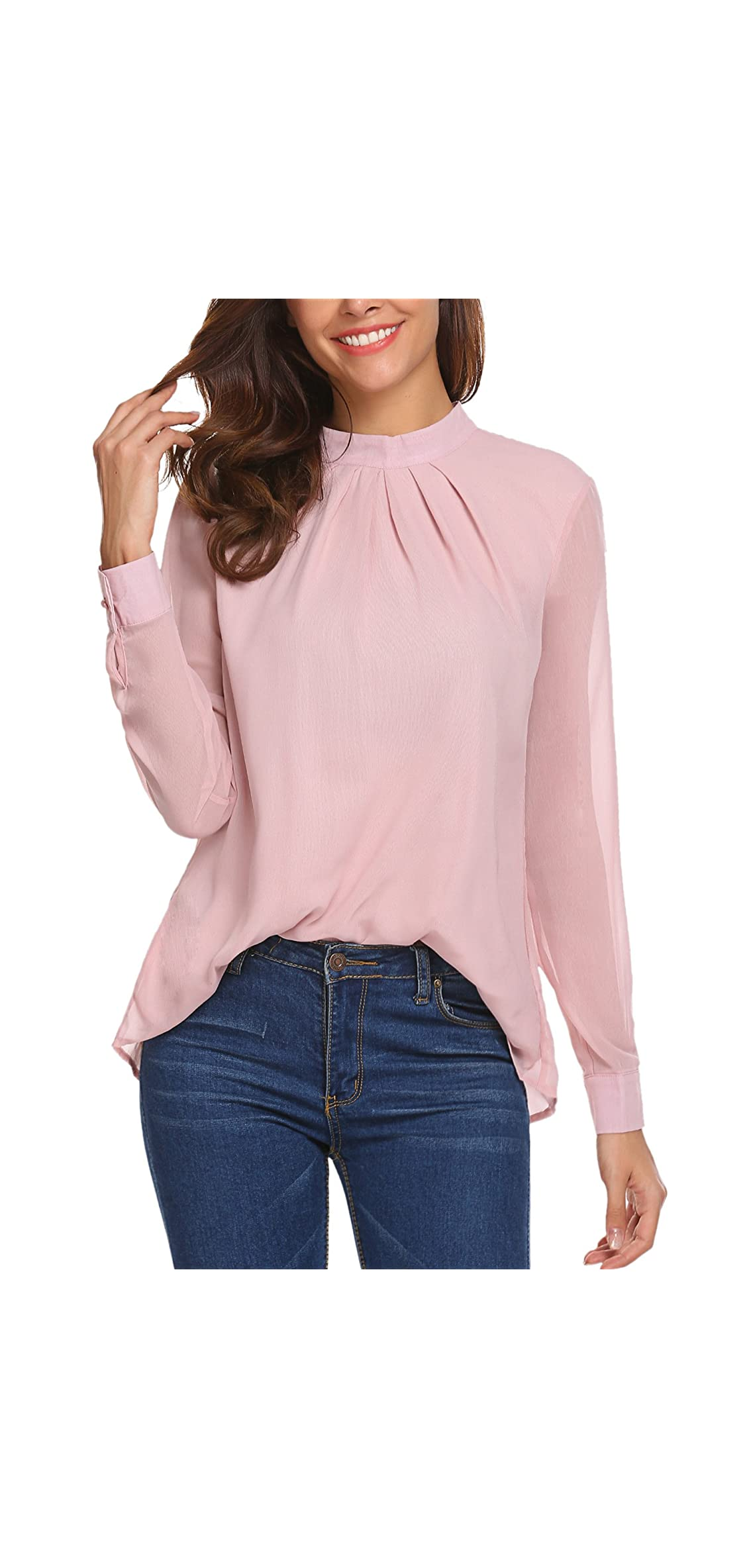 Long Sleeve Chiffon Blouse Women's Loose Casual Cuffed