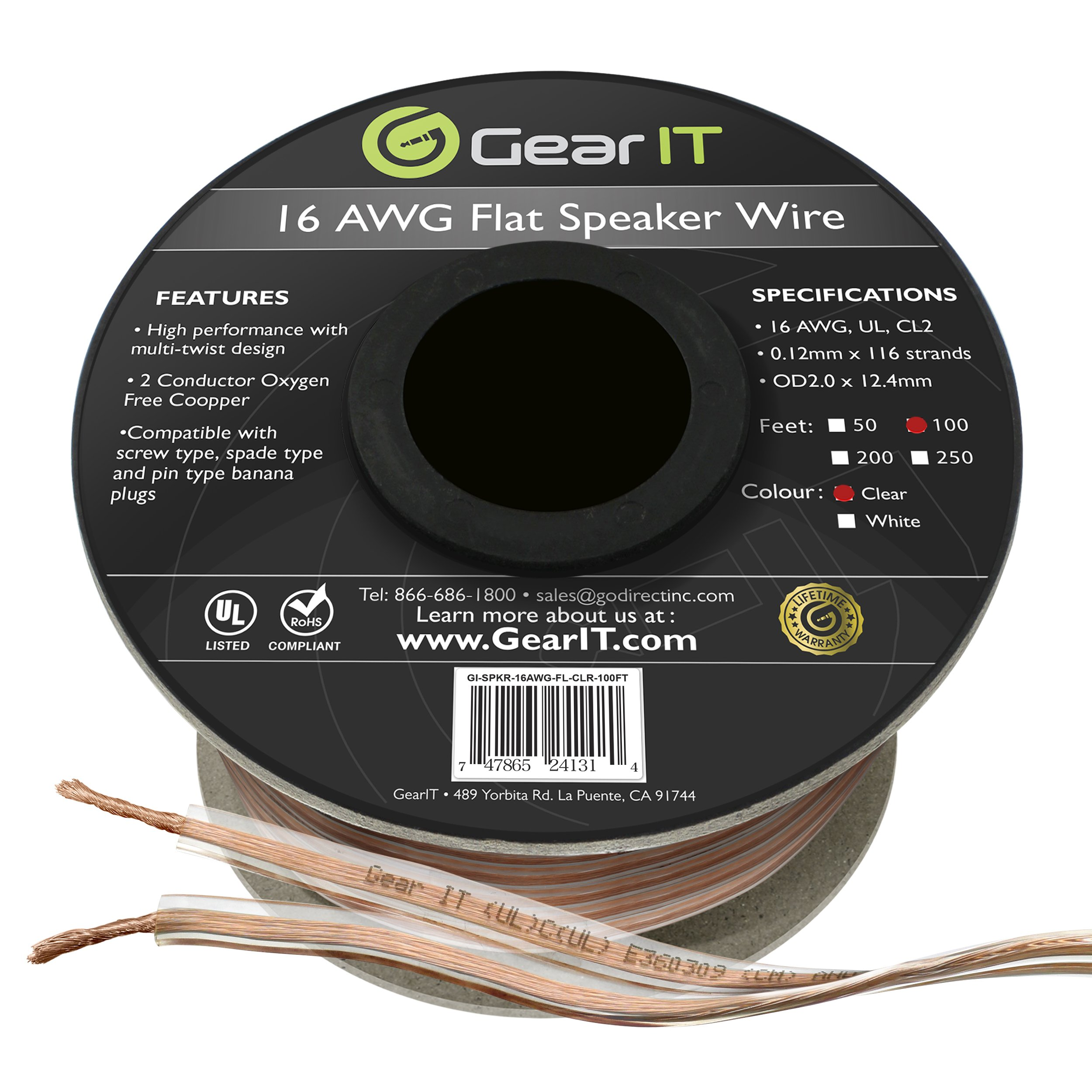GearIT Elite Series 16AWG Flat Speaker Wire (100 Feet/30.4 Meters) - Oxygen Free Copper (OFC) CL2 Rated In-Wall Installation for Home Theater, Car Audio, and Outdoor Use, Clear