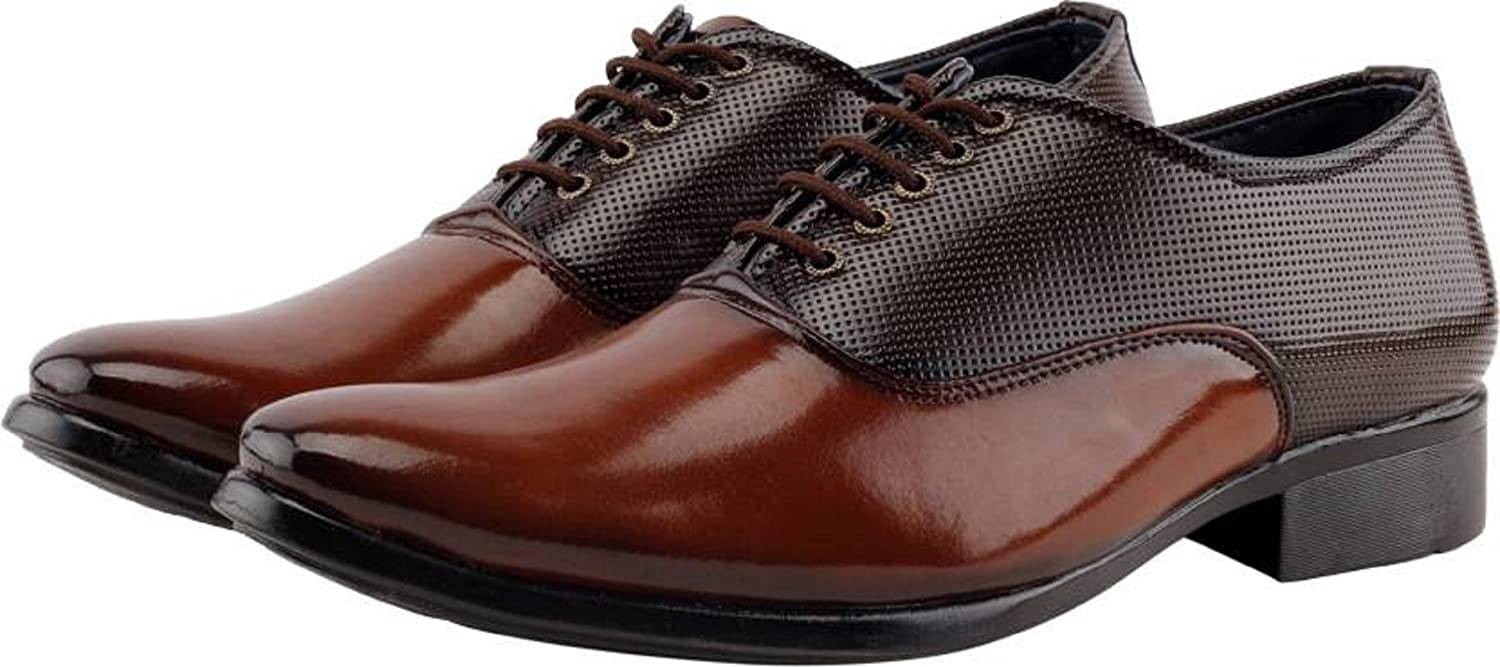 fb38ed600a5 DEEKADA Men s Brown and Tan Patent Leather Formal Shoes for Men s + Party  Wear Formal Shoes  Buy Online at Low Prices in India - Amazon.in