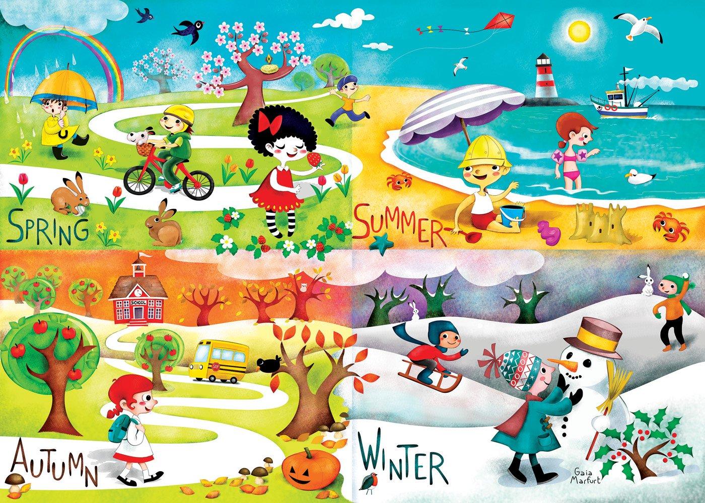 Happy Spaces Leinwandbild - für Kinder - Motiv Jahreszeiten - Design von Gaia Marfurt - 70 x 50 x 2 cm