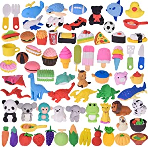 FUN LITTLE TOYS 72 Pack Assorted Pencil Erasers for Kids Classroom Prizes, Removable Assembly Zoo Animal Erasers for Easter Egg Stuffers