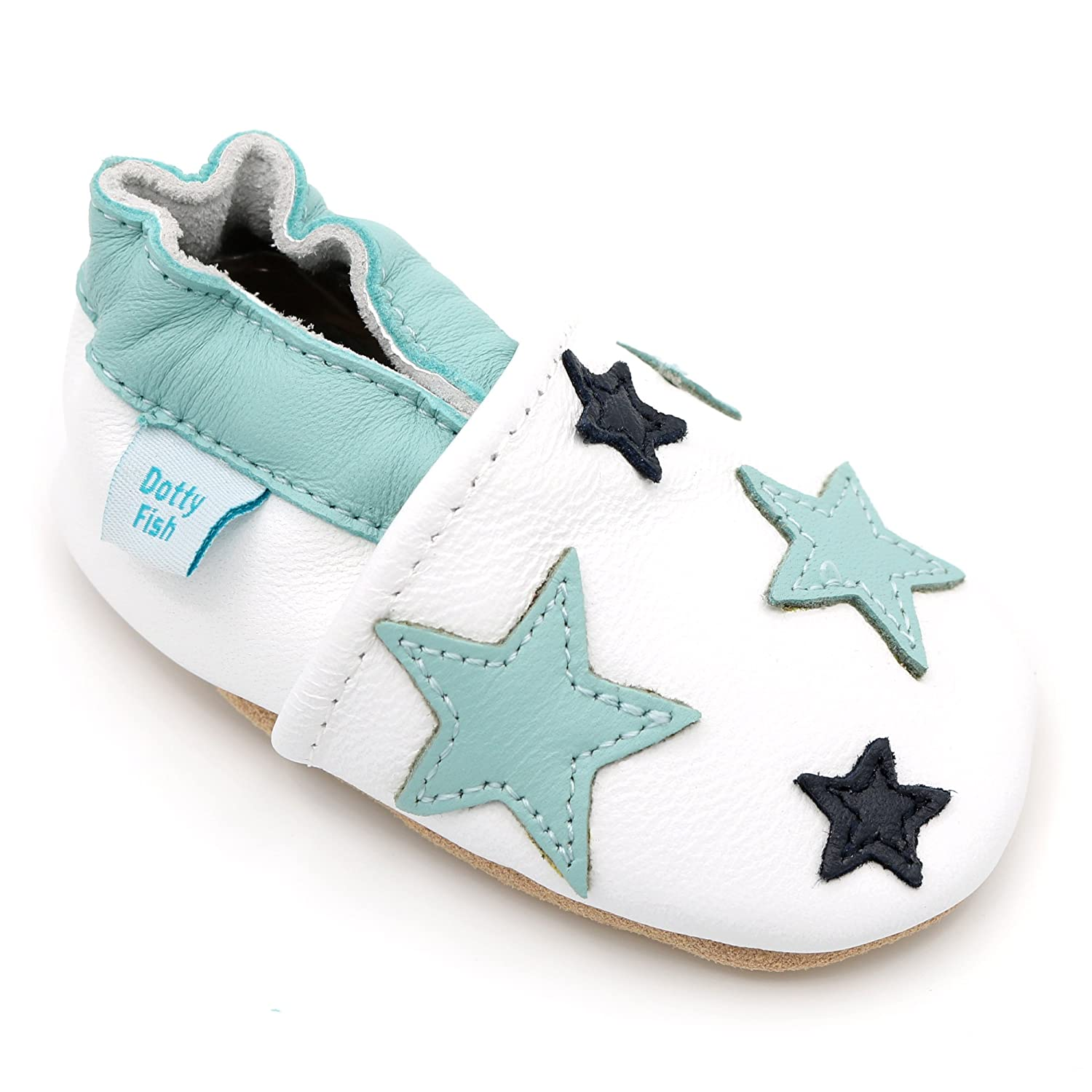 Dotty Fish Soft Leather Baby Shoes. Toddler Shoes. Boys Girls. Twinkle Star Design. Newborn to 3-4 Years.