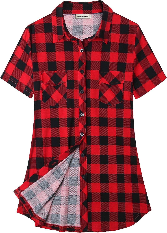 Thepass Women Summer Short Sleeve Plaid Print Button Blouse Casual Shirt Tops