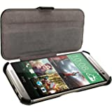 igadgitz u2832eco-piel Flip Case Housse pour HTC One M82014avec Sleep Wake, support et protecteur d'écran–Noir