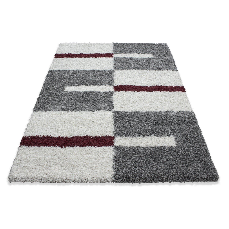 Tappeto shaggy di design moderno a righe e tappeto da salotto a scacchi, Colore:Rosso, Dimensione:60x110 cm Teppium