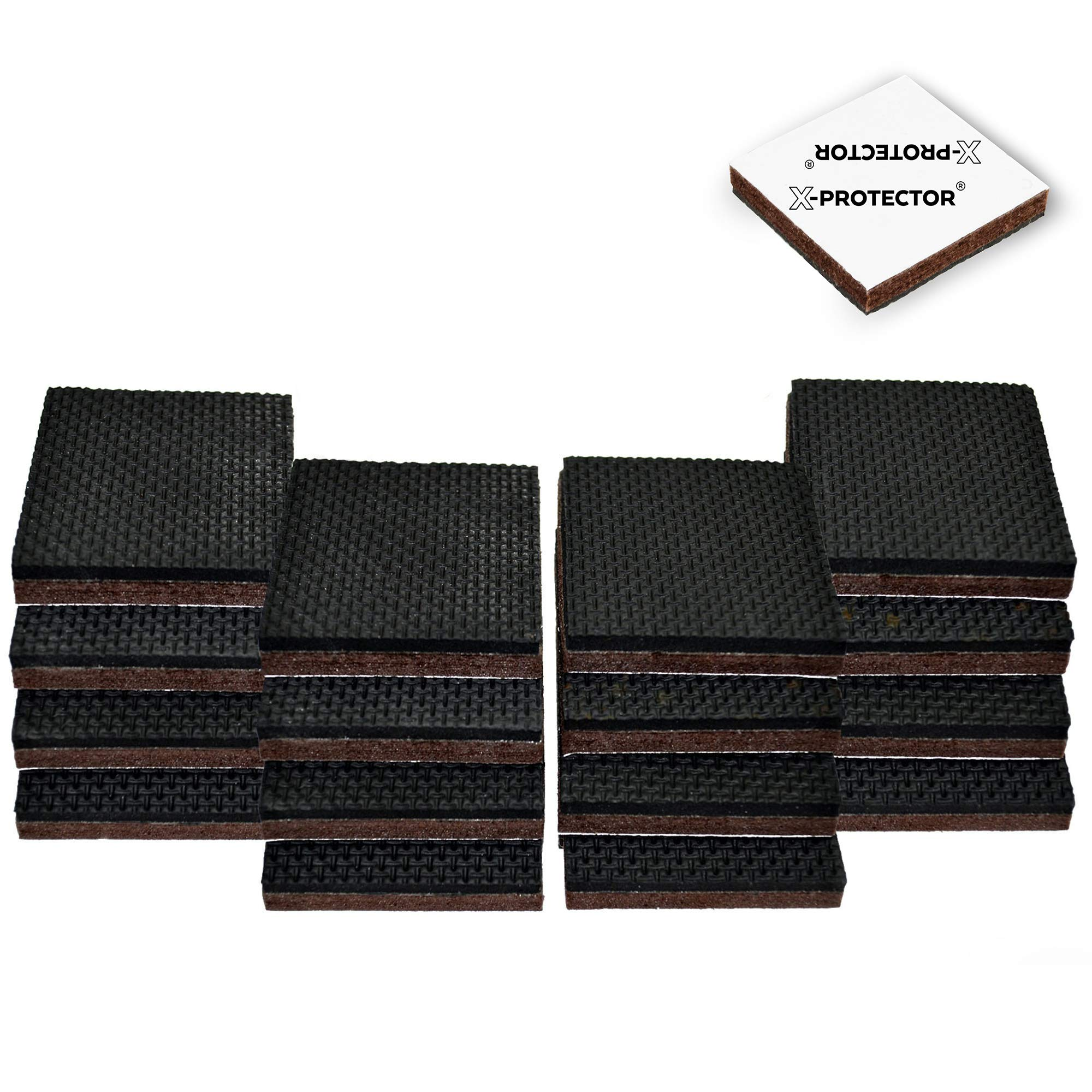 X-Protector Slip Premium 16 pcs 2 Grippers Best SelfAdhesive Rubber Feet – Ideal Non Skid Pad Floor Fix in Place Furniture