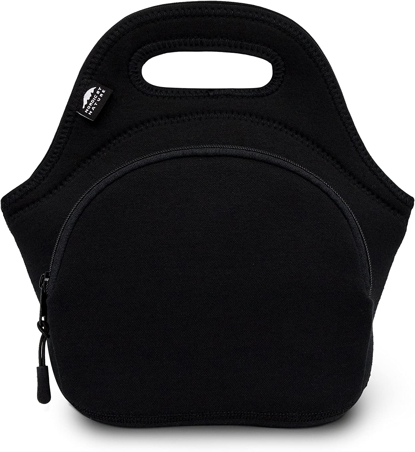 Nordic By Nature Lunch Bags for Women & Lunch Boxes for Kids Premium Insulated Lunch Box Extra Thick Neoprene, Soft Cotton Feel, Premium Stitching, Outside Pocket, Washable (M) Black