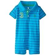 49b191e3b U.S. Polo Assn. Baby Boys' Newborn Short Sleeve Interlock Stripe Polo Romper,  Marine Teal, 3/6 Months