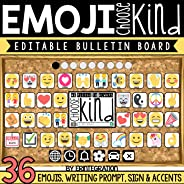 Kindness Bulletin Board Set with Emojis and Student Choose Kind Activity Printable – 36 Accent Pieces (Editable)