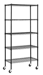 """Muscle Rack MWS361872-BLK 5 Shelf Black Wire Mobile Shelving Unit, 72"""" Height, 36"""" Width, 18"""" Length"""