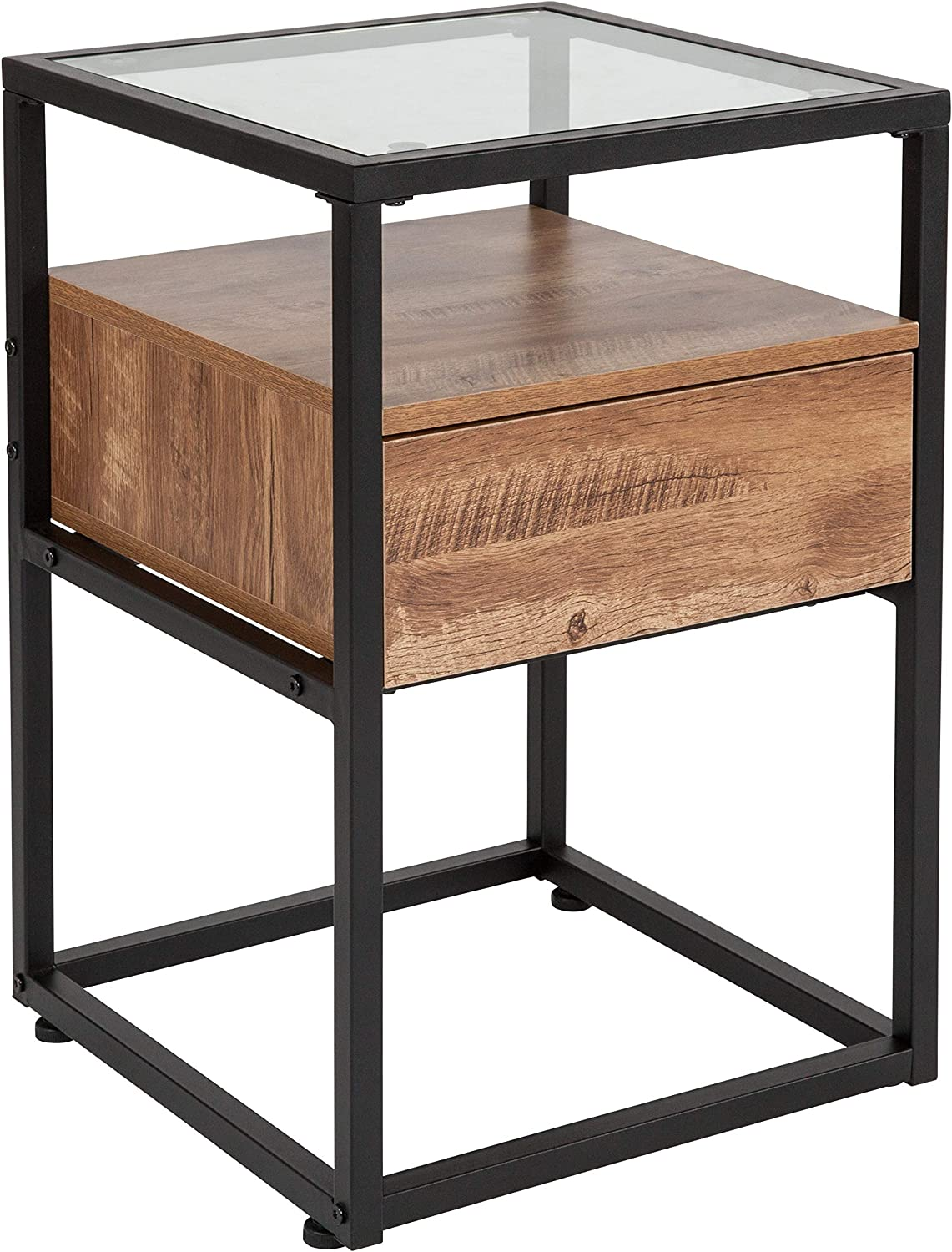 Taylor + Logan Glass End Table with Drawer and Shelf in Rustic Wood Grain Finish