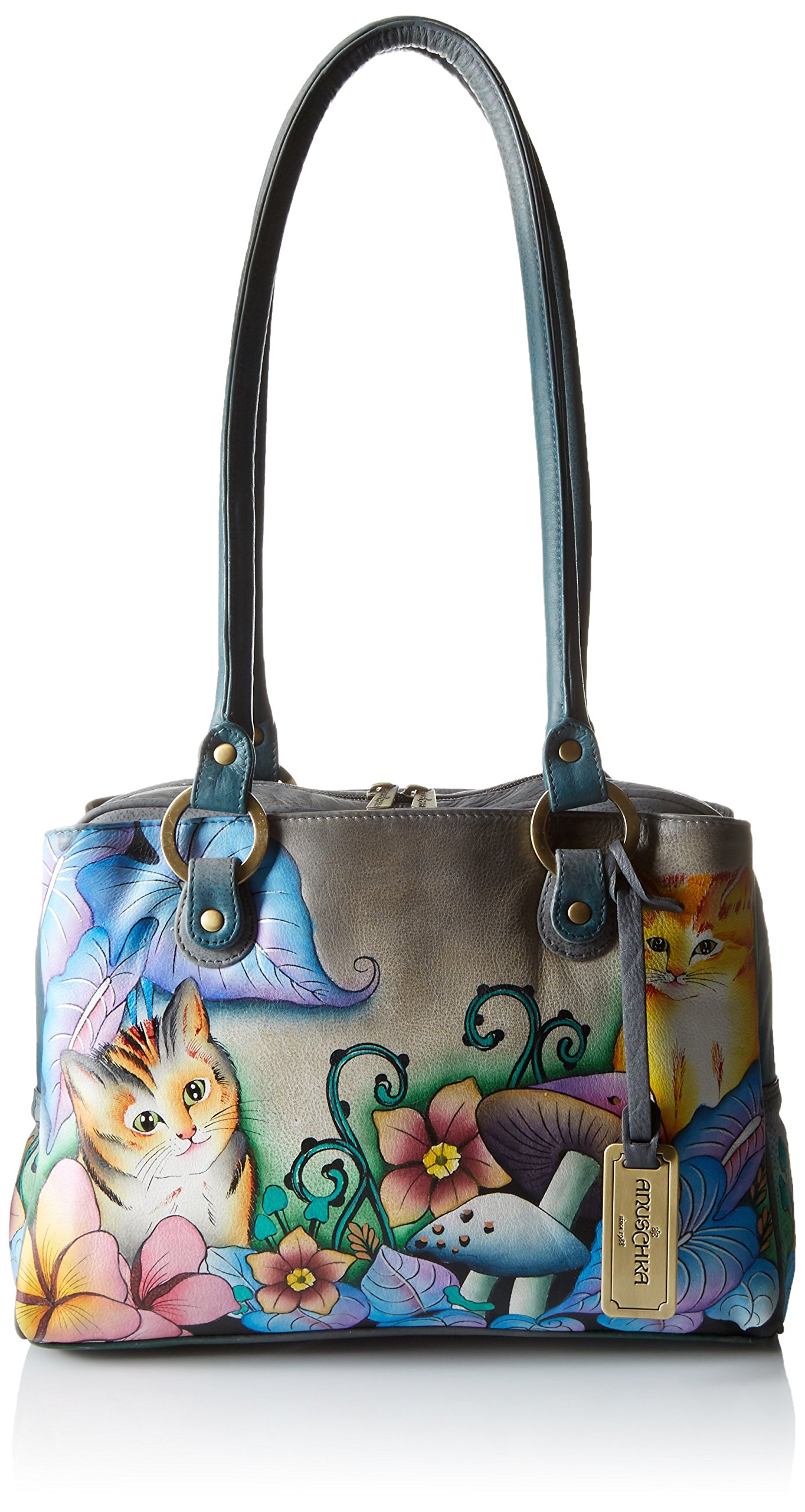 Anuschka Handpainted Leather Triple Compartment Medium Satchel, Cats in Wonderland