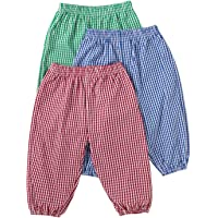 Toddler Baby Boys Girls Long Bloomers Plaid Pants Anti-Mosquito Harem Summer Casual Pants 3 Pack for Kids 6M-4T