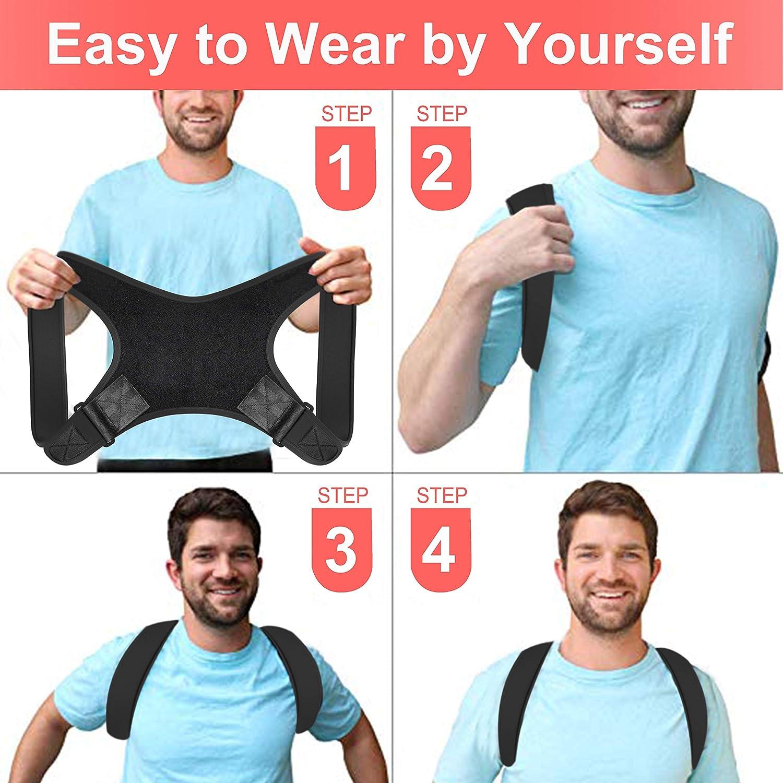 Chest 29-45 Amdieu Posture Corrector for Women /& Men Under Clothes Adjustable Shoulder Belt for Slouching /& Hunching Upper Back Brace Posture Clavicle Strap Pain Relief B