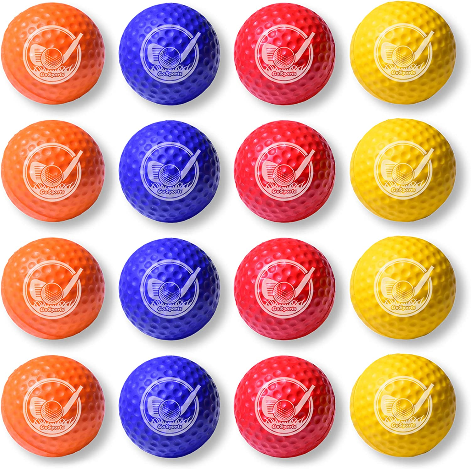 GoSports Foam Golf Practice Balls – Realistic Feel and Limited Flight Soft for Indoor or Outdoor Training Choose Between 16 Pack or 64 Pack