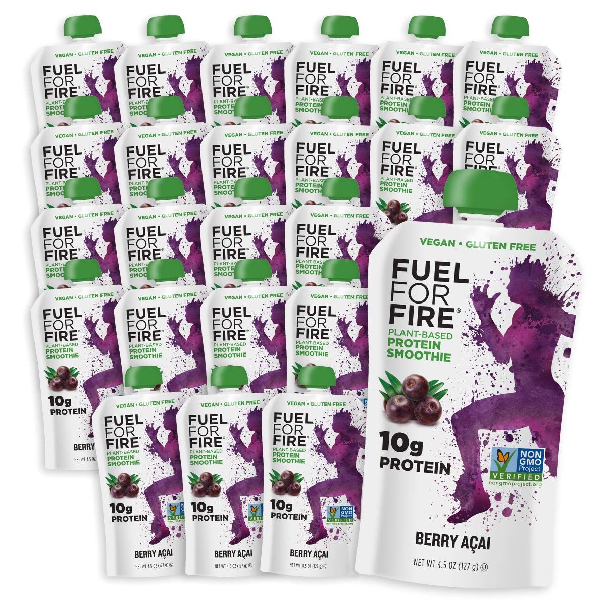Fuel For Fire VEGAN - Berry Acai Smoothies (24 pack) with Vegan Protein |  Ready to Eat Squeeze Pouch | Soy Free, Lactose Free, Dairy Free, Plant-based Pea Protein, Gluten Free | On the Go