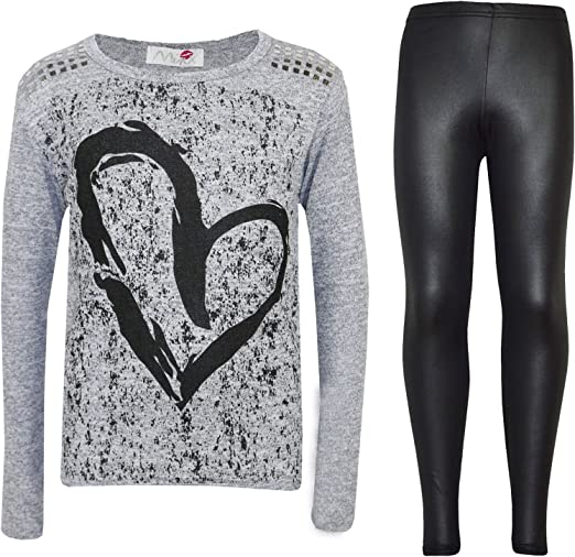 a2z4kids Kids Girls Heart Printed Trendy Top /& Stylish Fashion Legging Set Age 7-13 Years