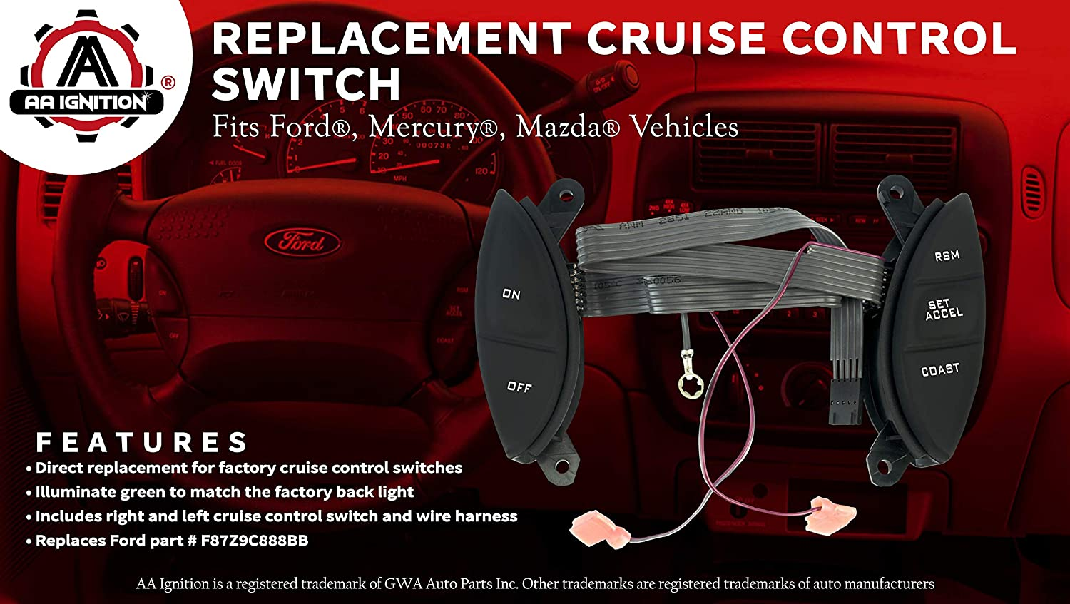 Steering Wheel Mounted Cruise Control Switch - Fits Ford Explorer, Explorer  Sport Trac, Ranger and more - Cruise Control Switch F150 Steering Controls