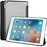 IVSO New iPad 2017 iPad 9.7 inch Case - Ultra Slim Smart Case with Semi-transparent PC Frosted Rubber Back Cover Auto Sleep/Wake Function for Apple iPad 9.7 inch 2017 Tablet(Black)