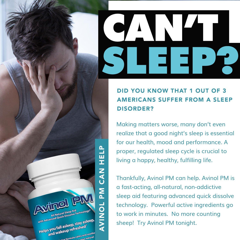 Best Natural Sleep Aid: Avinol PM | Herbal Formula for Better Sleeping | For a Deep Restful Night's Rest | Treatment for Jet Lag Insomnia Symptoms & Restlessness – with Melatonin Lemon Balm Passion Flower 5-HTP L-Theanine Chamomile