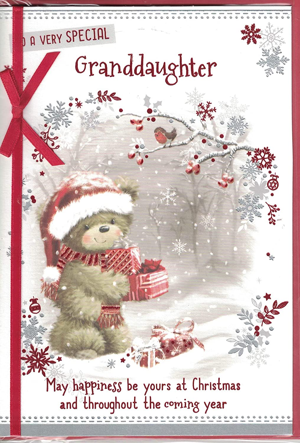Prelude Granddaughter Christmas Card ~ For A Special Granddaughter Wishing You A Happy Christmas~ Teddy Bear & Flowers Size 20cm x 14cm