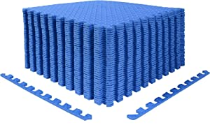 Wardmason Interlocking Foam Mat, 24''×24''×1/2'', Puzzle Mat, Swimming Pool Floor Mat, Exercise Mat, with 2 Edges Protective Mat for Gym Equipment and Cushion for Workouts