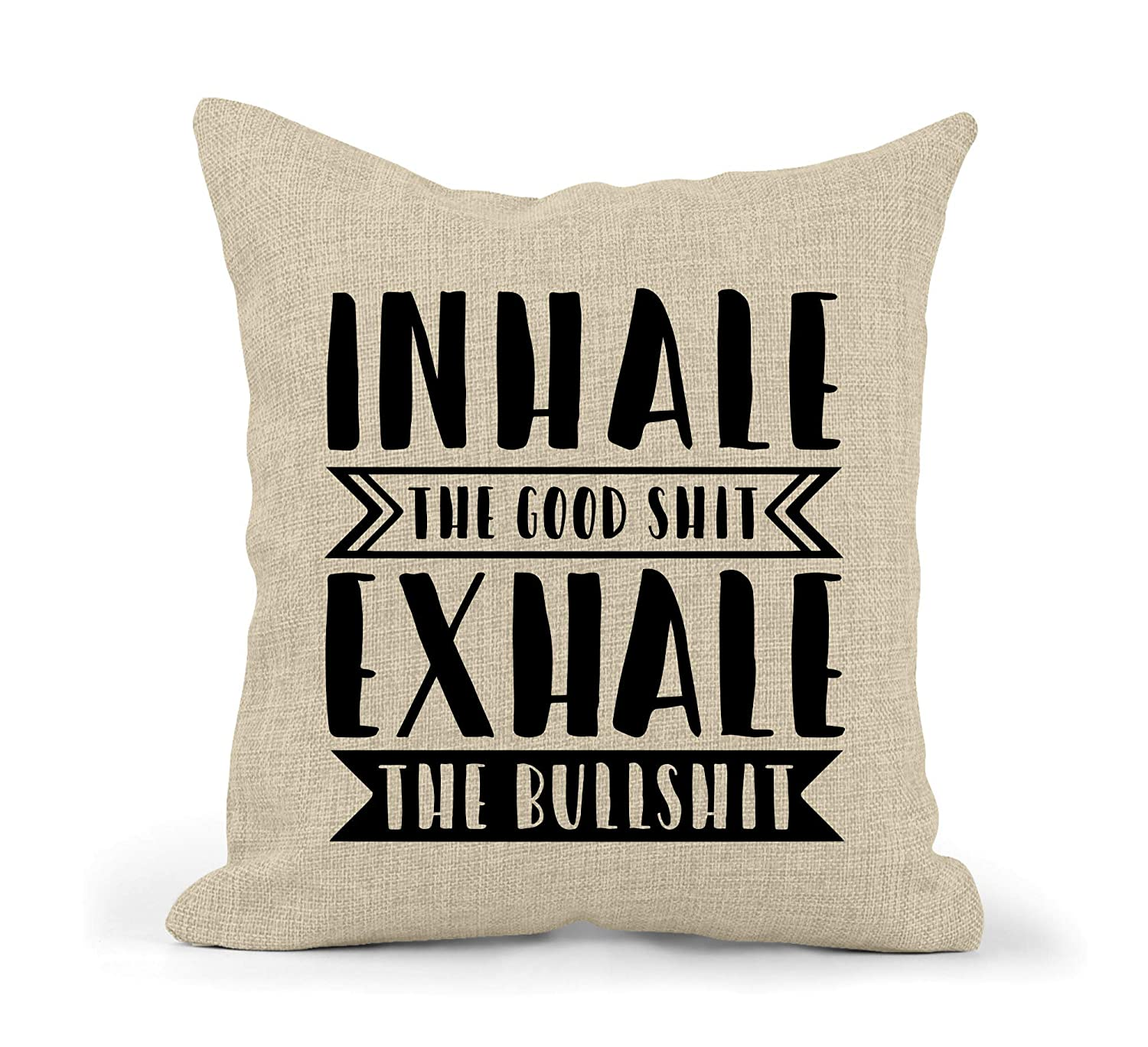 Inhale The Good Shit Exhale The Bullshit Burlap Pillow Cover//Yoga Throw Pillow Cover//Rustic Decor Pillowcase//Farm House Pillowcase//Faux Burlap Pillow Cover//Cover Only