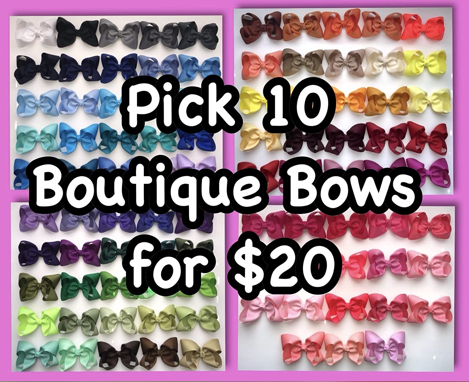 Pick 10 Solid Boutique Hair Bows 4