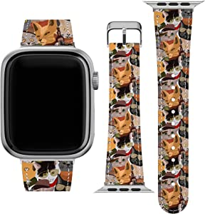 Lex Altern Band Compatible with Apple Watch Series 6 SE 5 4 3 2 1 38mm 40mm 42mm 44mm Western Wristband Breeds Funny Vegan Leather Cute Stylish Sunglasses Cowboy Cats Durable Print Replacement wh639
